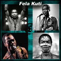 Four pictures of Fela Kuti