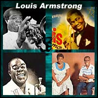 Four pictures of Louis Armstrong