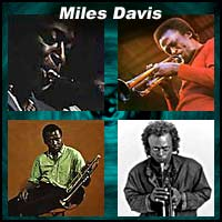 Four pictures of jazz trumpeter Miles Davis