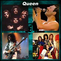 Four pictures of the members of the rock band Queen