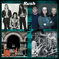 Four pictures of the members of the rock band Rush