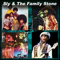 Four pictures of members of the funk rock band Sly and The Family Stone