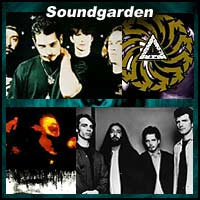 Four pictures of the rock band Soundgarden
