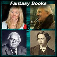 Authors J.K. Rowling, J.R.R. Tolkien, Lewis Carroll, and Ray Bradbury