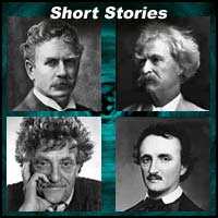 Authors Ambrose Bierce, Mark Twain, Kurt Vonnegut, and Edgar Allan Poe