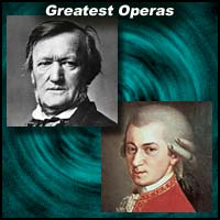 composers Richard Wagner and Wolfgang Amadeus Mozart
