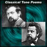 Classical music composers Claude Debussy and Modest Mussorgsky