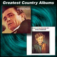 Album covers for At Folsom Prison by Johnny Cash and Coat Of Many Colors by Dolly Parton