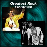 singers Freddie Mercury and James Brown