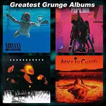 Grunge album covers Nevermind, Ten, Superunknown and Dirt
