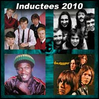 Rock and roll artists The Hollies, Genesis, Jimmy Cliff, and The Stooges