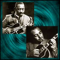 Jazz guitarists Wes Montgomery and Django Reinhardt