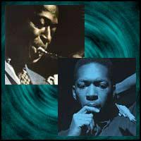 jazz musicians Miles Davis and John Coltrane