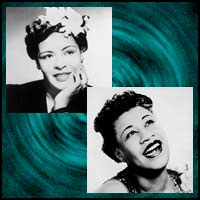 Jazz vocalists Billie Holiday and Ella Fitzgerald