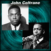 Two images of jazz saxophonist John Coltrane