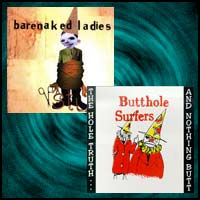 Rock bands Barenaked Ladies and Butthole Surfers CD covers