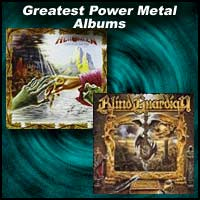 Album covers for Keeper of the Seven Keys Part II by Helloween and Imaginations From the Other Side by Blind Guardian