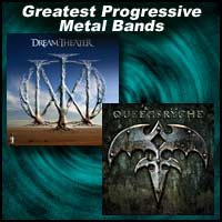 Album covers for the metal bands Dream Theater and Queensrÿche