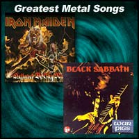 Greatest Metal Songs with Black Sabbath and Iron Maiden album covers