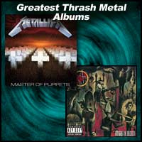 Album covers Master of Puppets by Metallica and Reign In Blood by Slayer