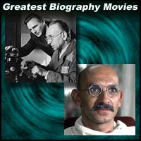 Scenes from the movies Schindler's List and Gandhi