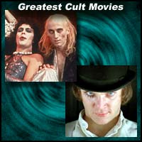 Scenes from cult movies The Rocky Horror Picture Show and A Clockwork Orange