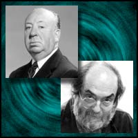 Movie directors Alfred Hitchcock and Stanley Kubrick