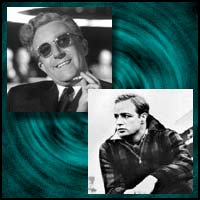Movie actors Peter Sellers and Marlon Brando