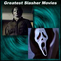 Scenes from the slasher movies The Texas Chainsaw Massacre and Scream