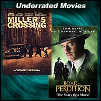 DVD covers for the movies Miller's Crossing and Road To Perdition