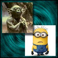 Animated movie characrers Yoda and Minion