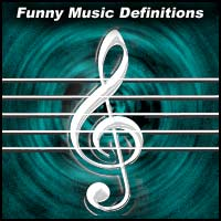 treble clef and text title Funny Music Definitions