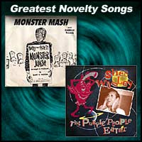 Monster Mash and The Purple People Eater record sleeves