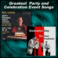 record sleeves for Happy Birthday, Sweet Sixteen by Neil Sedaka and Graduation Da by the Four Freshmen