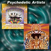 Psychedelic album covers for Magical Mystery Tour and Axis Bold as Love