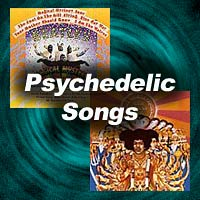 Psychedelic Songs title image with Beatles and Hendrix album covers