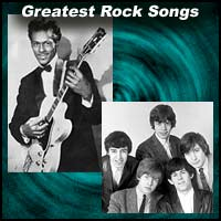 "Image showing Chuck Berry and The Rolling Stones with text heading ""Greatest Rock Songs"""