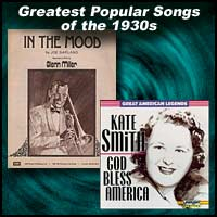 "sheet music cocer for ""In The Mood"" and record sleeve for ""God Bless America"" sung by Kate Smith"