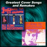 Two record sleeves for the song All Along the Watchtower by Jimi Hendrix and Bob Dylan