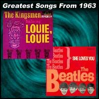 record cover art for Louie Louie by Kingsmen and She Loves You by the Beatles