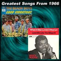 record cover art for Good Vibrations by Beach Boys and When A Man Loves A Woman by Percy Sledge