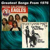 record cover art for Hotel California by the Eagles and Go Your Own Way by Fleetwood Mac