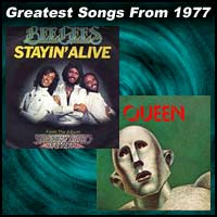 record cover art for Stayin' Alive by The Bee Gees and We Will Rock You/We Are the Champions by Queen