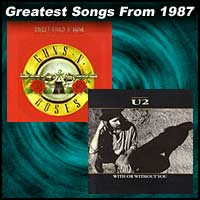 record cover art for Sweet Child O' Mine by Guns N' Roses and With or Without You by U2