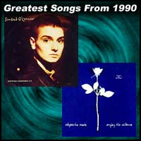 record cover art for Nothing Compares 2 U by Sinead O'Connor and Enjoy The Silence by Depeche Mode