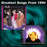 record cover art for Waterfalls by TLC and Black Hole Sun by Soundgarden