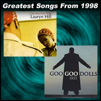 record covers for Doo Wop (That Thing) by Lauryn Hill and Iris by Goo Goo Dolls
