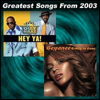 record covers for Hey Ya! by Outkast and Crazy In Love by Beyoncé and Jay-Z