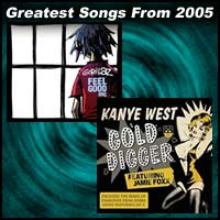 record covers for Feel Good Inc. by Gorillaz and Gold Digger by Kanye West