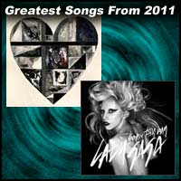 record sleeves for Somebody That I Used To Know by Gotye and Born This Way by Lady Gaga